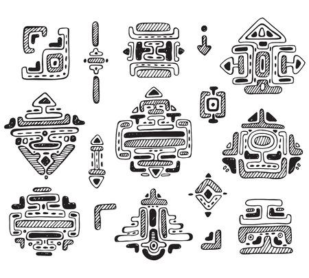 colección de vector de ornamento a mano maya aislado sobre fondo blanco