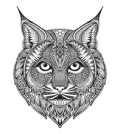 Hand drawn graphic ornate bobcat with ethnic floral doodle pattern.Vector illustration for coloring book, tattoo, print on t-shirt, bag. Isolated on a white background. Vettoriali