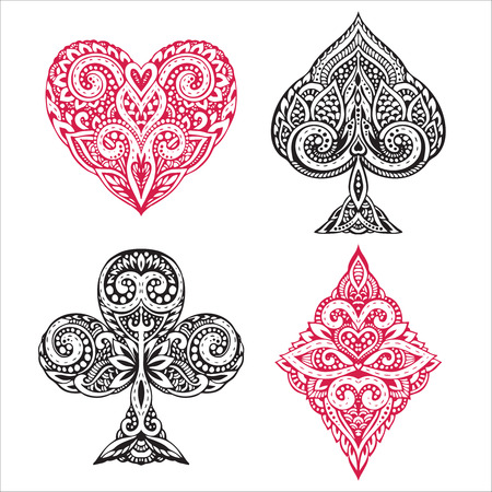 Vector set of hand drawn suit black and red playing card with decorative ornament. Isolated objects on white background
