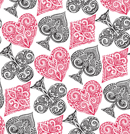 Seamless pattern with ornate doodle hand drawn playing card suits. Beautiful black and white vector background