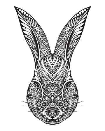 archetype: Hand drawn graphic ornate head of rabbit with ethnic floral doodle pattern.Vector illustration for coloring book, tattoo, print on t-shirt, bag. Isolated on a white background. Illustration