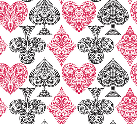 trump: Seamless pattern with ornate doodle hand drawn playing card suits. Beautiful black and white vector background