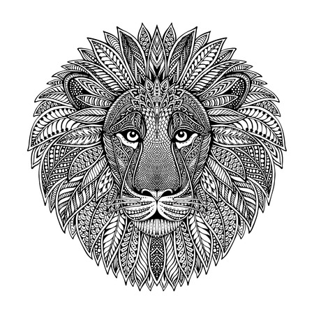 Hand drawn graphic ornate head of lion with ethnic floral doodle pattern.Vector illustration for coloring book, tattoo, print on t-shirt, bag. Isolated on a white background. Vettoriali