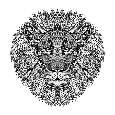 Hand getrokken grafisch sierlijke hoofd van de leeuw met etnische bloemen doodle pattern.Vector illustratie voor kleurboek, tattoo, print op t-shirt, tas. Geïsoleerd op een witte achtergrond. Stock Illustratie