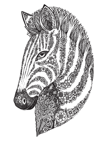 zebra head: Hand drawn graphic ornate zebra head with ethnic floral doodle pattern. Vector illustration for coloring book, tattoo, print on t-shirt, bag. Isolated on a white background.