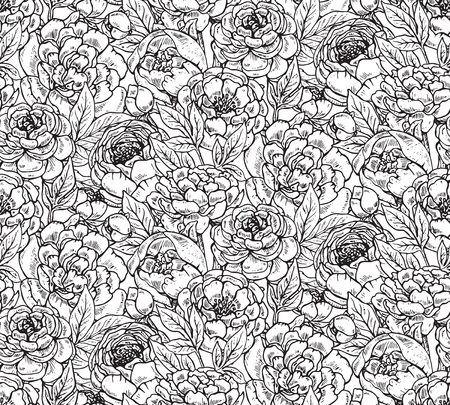 peony black: Vector seamless pattern with hand drawn peony flowers. Black and white endless background. Illustration