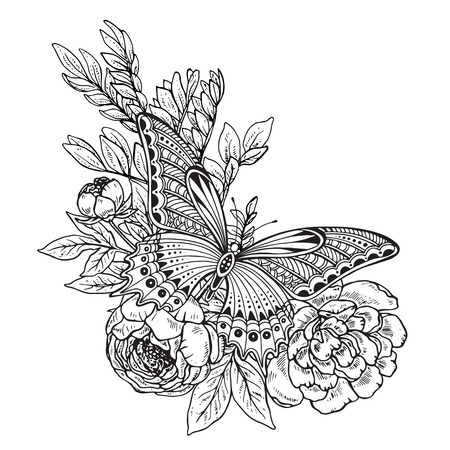 peony black: Vector illustration of hand drawn graphic butterfly on peony flowers bouquet. Black and white image for for coloring book, tattoo, print on t-shirt, bag, invitations and greeting cards. Illustration