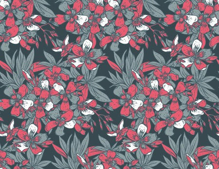 pink bushes: Vector seamless pattern with hand drawn rhododendron flowers. Colorful endless background. Illustration