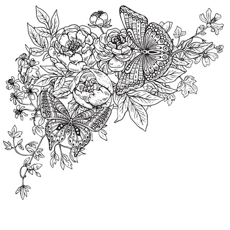 peony black: Vector illustration of two hand drawn graphic butterflies on peony flowers bouquet and other plants. Black and white image for for coloring book, tattoo, print on t-shirt, bag, invitations and greeting cards.