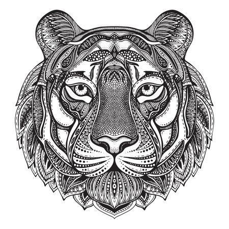 Dibujado a mano gráfico tigre adornado con la ilustración del doodle pattern.Vector floral étnico de libro para colorear, tatuajes, imprimir en la camiseta, bolsa. Aislado en un fondo blanco. Ilustración de vector
