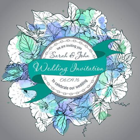 convolvulus: Wedding invitation green and white hand drawn bindweed flowers with watercolor texture. Flourish card with copy space Illustration