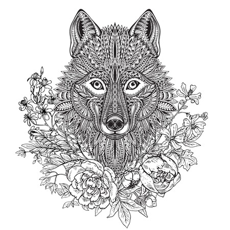 Hand drawn graphic ornate head of wolf with ethnic floral doodle pattern, peonies and other flowers. Vector illustration for coloring book, tattoo, print on t-shirt, bag. Isolated on a white background.