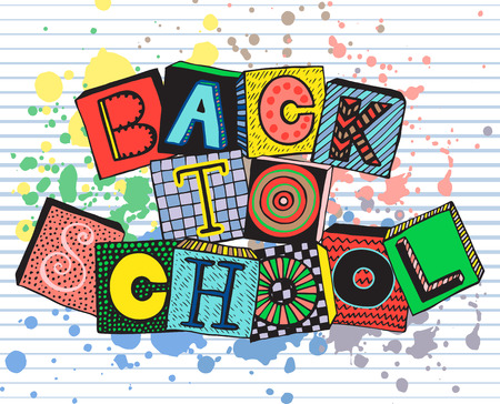 splash back: Hand drawn phrase back to school in doodle fancy style. Fancy letters on blocks with different textures and splash. Colorful vector illustration