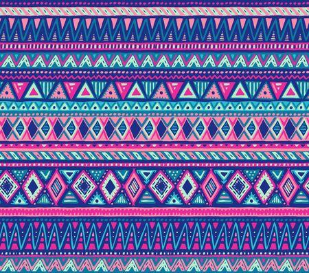Bunte Vektor nahtlose Muster mit ethnischen Elementen von Hand gezeichnet. Blau, rosa Farben. Geometrische Design mit Streifen. Folk Motiv für Print, Web, Textil, Geschenkpapier