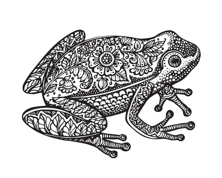 frog jump: Black and white hand drawn ornate doodle frog in graphic style isolated on white background. Vector illustration with floral decorative ornament Illustration