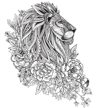 Hand drawn graphic ornate head of lion with ethnic floral doodle pattern, peonies and other flowers. Vector illustration for coloring book, tattoo, print on t-shirt. Isolated on a white background. Illustration