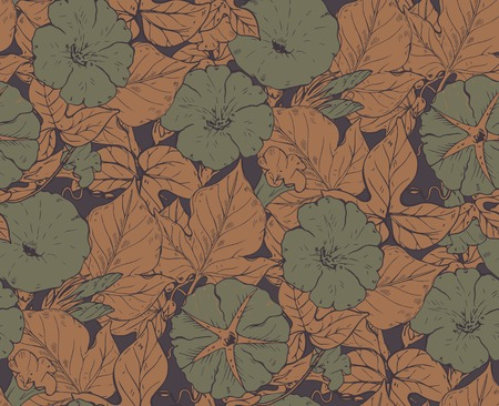 convolvulus: Vector seamless pattern with hand drawn bindweed flowers. Endless background in green and brown colors.