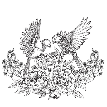 flower decoration: Vector illustration of two hand drawn graphic birds and peony flowers bouquet and other plants. Black and white image for for coloring book, tattoo, print on t-shirt, invitations and greeting cards.