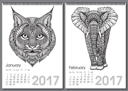 two months: Calendar 2017. Beautiful ornate hand drawn animals for every month. Vector illustration. Two months lists january, february with elephant, bobcat.
