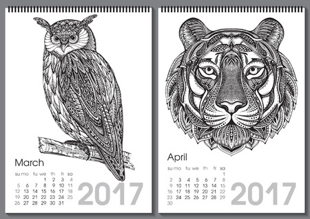two months: Calendar 2017. Beautiful ornate hand drawn animals for every month. Vector illustration. Two months lists march, april with owl, tiger. Illustration