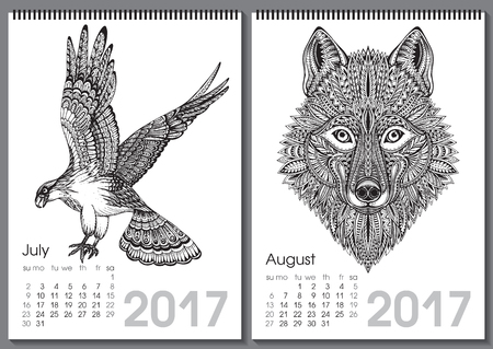 two months: Calendar 2017. Beautiful ornate hand drawn animals for every month. Vector illustration. Two months lists july, august with eagle, wolf.