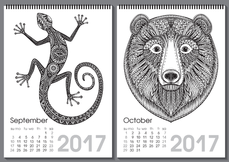 two months: Calendar 2017. Beautiful ornate hand drawn animals for every month. Vector illustration. Two months lists september, october with lizard, bear.
