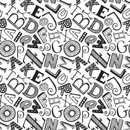 Seamless pattern with hand drawn fancy alphabet, funny doodle letters. Vector endless background with black and white letters with different textures