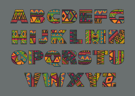 orthographic symbol: Vector set of ornate capital letters with abstract ethnic African patterns. Fancy alphabet in tribal culture style. Colorful beautiful font. Illustration