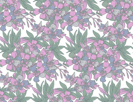 azalea: Vector seamless pattern with hand drawn rhododendron flowers. Colorful endless background. Illustration