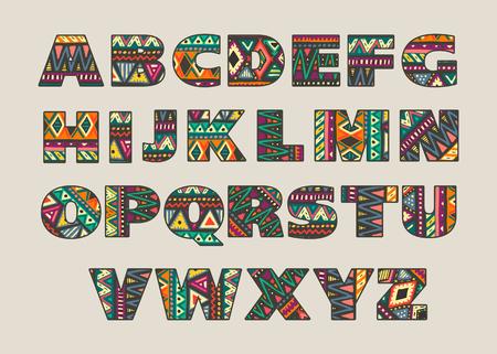 抽象的な民族のアフリカ パターンと華やかな大文字のベクトルを設定します。部族の文化スタイルの派手なアルファベット。カラフルな美しいフォ