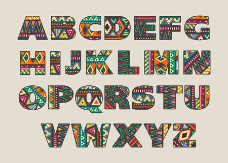 Vector set of ornate capital letters with abstract ethnic African patterns. Fancy alphabet in tribal culture style. Colorful beautiful font. Ilustrace