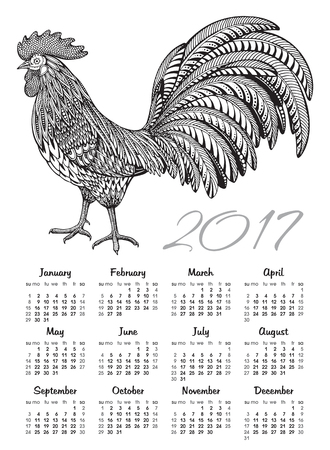 Calendar 2017 Chinese New Year with the hand drawn ornate doodle fiery Rooster. Monochrome vector Illustration.