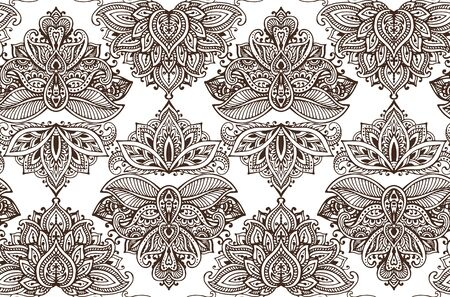 Henna Mehndi Vector : Vector seamless pattern with hand drawn henna mehndi floral elements