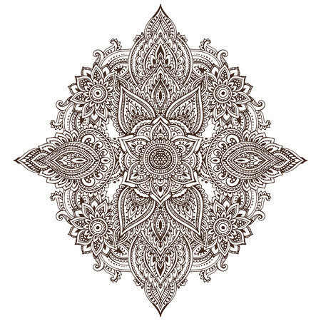 mhendi: Vector pattern of henna floral elements based on traditional Asian ornaments. Paisley Mehndi Tattoo Doodle illustration