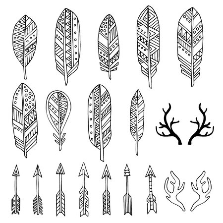 cherokee: Hand drawn set with doodle antlers, feathers, arrows. Black and white rustic decorative vector design collection.