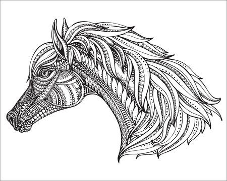 手には、グラフィックの華やかなスタイルで馬の頭が描画されます。黒と白のベクトル図です。T シャツ、バッグ、ポストカード、ポスター、塗り絵