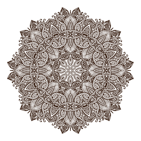 mehendi: Abstract vector round lace design mandala, decorative element. Mehndi style, traditional oriental ornament. Illustration for print, tattoo