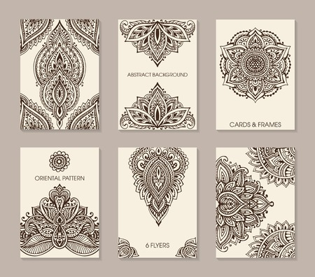 Set of six cards or flyers with abstract henna mehndi ornament. Decorative pattern with ornate texture, tribal ethnic oriental motif. Vector illustration Vector Illustration