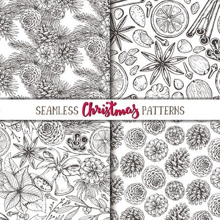 Set von vier nahtlose Muster mit Tannenzapfen, Weihnachtsgewürze und Zitrusfrüchte. Handskizze Vektor-Illustrationen gezeichnet. Schwarz-Weiß-Schwarz-Weiß endlose Hintergründe.