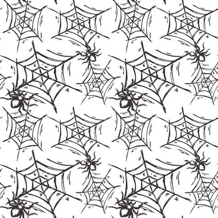 cobwebby: Halloween seamless pattern with hand drawn spiders on web in sketch style. Endless vector background