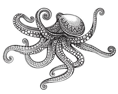 Handgezeichneter Oktopus in grafisch verzierten Stil. Vektor-Illustration für Tattoo, Malbuch, Druck auf T-Shirt, Tasche. Schwarz-Weiß-Farben