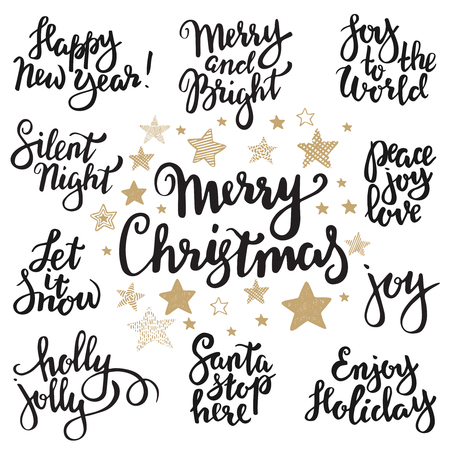 Set of Merry Christmas lettering. Vector hand written unique xmas design elements isolated on white background. Quotes for congratulation cards, banners and flyers. Ilustração