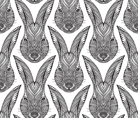 archetype: Seamless pattern with ornate doodle hand drawn head of rabbit. Beautiful black and white vector background