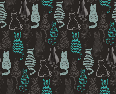 Vector seamless pattern with hand draw textured cats in graphic doodle style. Beautiful endless background.