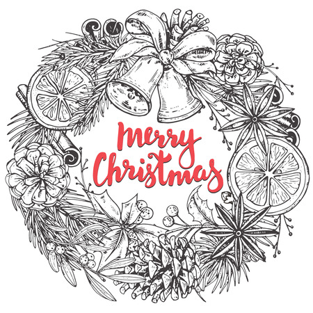 Merry Christmas and Happy New Year greeting card with hand drawn winter plants, spices, bells. Black and white vector illustration with handwritten lettering. Xmas wreath Illusztráció