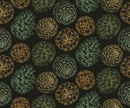 松ぼっくりと枝のシームレスなパターン。手描きスケッチのベクター イラストです。緑の色の無限の背景。