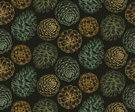 Seamless pattern with pine cones and branches. Hand drawn sketch vector illustration. Endless background in green colors.