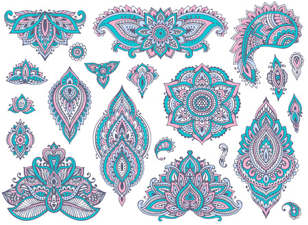 mhendi: Big vector set of colorful henna floral elements and frames based on traditional Asian ornaments. Paisley Mehndi Tattoo Doodles collection. Blue and pink cool soft colors Illustration