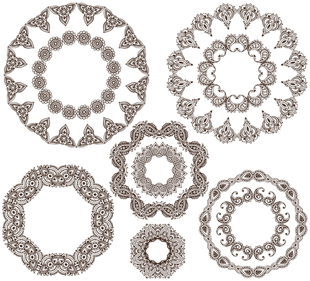 Vector set of henna floral round frames based on traditional Asian ornaments. Paisley Mehndi Tattoo Doodles collection. Templates for cards, invitations