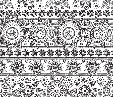 stars and stripes: Vector seamless pattern with graphic doodle suns, stars, stripes and tribal elements. Hand drawn endless background in black and white colors with many details and elements. Textile design